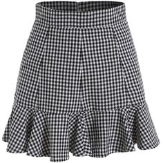 Peplum Hem Plaid Black Skirt ($13) ❤ liked on Polyvore