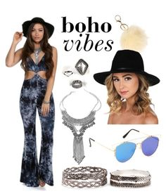 """""""boho vibes"""" by windsorstore on Polyvore featuring music, fringe, boho, festival and jumpsuit"""