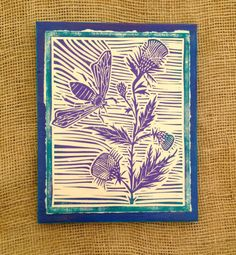 Items similar to Stinger, Hand Made Linoleum Block Print, sold as ready to hang wall art, made to order in a variety of colors. on Etsy