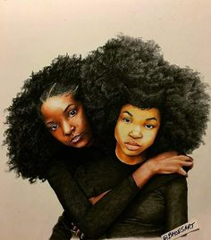 Love the strength yet softness in their faces. Black Love Art, Black Girl Art, My Black Is Beautiful, Black Girl Magic, Art Girl, Black Girls, African American Art, African Art, Natural Hair Art