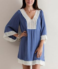 Look at this #zulilyfind! Slate Blue Crochet Lace Notch-Neck Tunic #zulilyfinds