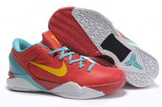 Nike Air Zoom Kobe VII(7) Mens Basketball Shoes Red Blue Yellow         The Nike Zoom Kobe VII basketball shoe features a highly durable, cast polyurethane shell upper that provides durability and a performance fit. Mesh placed under the shell adds ventilation and a graphic pattern that tells the predator story. Next-generation Flywire technology offers lightweight support and lockdown. 3-D heel