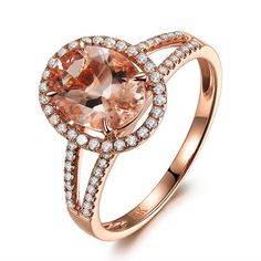 CLAW PRONG 14K Rose Gold Oval 7x9mm Morganite Halo .35ct Diamond Engagement Ring on Etsy, $430.00