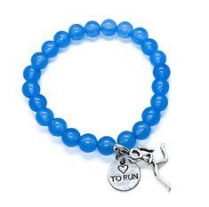 Blue Running Beaded Charm Bracelet Handmade: Amazon.ca: Handmade Running Jewelry, Handmade Bracelets, Charmed, Amazon, Blue, Riding Habit, Amazon River, Homemade Bracelets