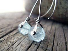 Riveting - aquamarine rivet earrings, sterling silver earrings, aquamarine, March birsthone. $42.00, via Etsy.