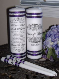 Unity Candle  Set with Memorial Candle CUSTOM FOR by wreathartist, $36.00