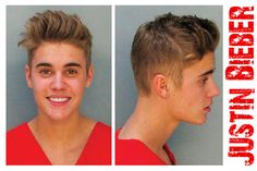 """CCT0188 - Justin Bieber's Mug-Shot. Stratford, Ontario native Justin Bieber's crime-spree continues. From the violent urination in a mop-bucket in 2013 to the maniacal attack with raw eggs of a neighbour's house in 2014 until the final arrest for """"resisting an officer without violence and driving without due care and attention."""" 270,000 Floridians petitioned to have The Bieber deported for his heinous crimes without success."""