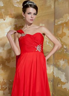 Georgia Hot Chiffon A-Line Chapel Train One-Shoulder Beading And Ribbon Evening Dress