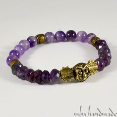 MENS NATURAL GEMSTONE FACETED AMETHYST CRYSTAL BEADED BRACELET OWL MBA HANDMADE #MBAHandmade #Beaded