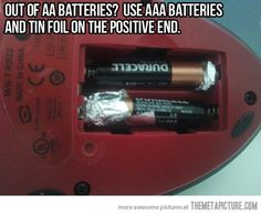 Out of AA batteries?  Gotta try this and see if it works...