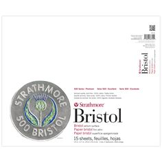 Strathmore 500 Bristol 100% Cotton Paper. Vellum surface has a toothy finish that is excellent for pencil, charcoal, pastel and oil pastel as well as pen, airbrush, and light washes. 100% cotton. Acid-free.