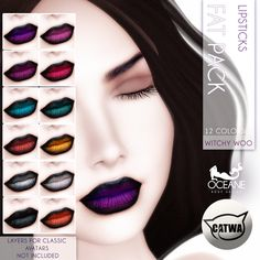 https://flic.kr/p/zT6uVs   Oceane -Witchy Woo Lipsticks Fat Pack CATWA   Second Life Marketplace: marketplace.secondlife.com/stores/7401  www.oceanebodydesign.com/   Inworld Store: maps.secondlife.com/secondlife/Oceanside%20dAlliez/194/21...