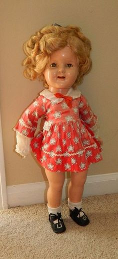 1930's Composition SHIRLEY TEMPLE Ideal Doll RARE LITTLEST REBEL Tagged Dress