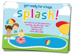 Pool Party Invitations: Printable Girls or Boys by thepartystork