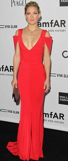Kate Hudson in coral red