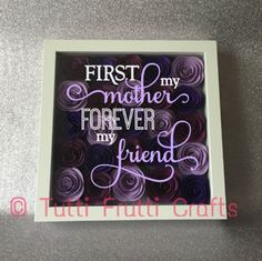 Purple Roses shadow box with phrase - Mother's Day