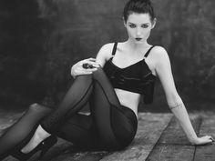 KLUE Noir Noir AW12 collection     Filles - Ruffle bra  Trinite - V leggings    Photographer - One9photography Jamie Cowlishaw  Hair stylist - Victoria Myers  MUA - Rosie Gentile  Model - Olivia-fayne Lamb  Shoes - DANIEL FOOTWEAR