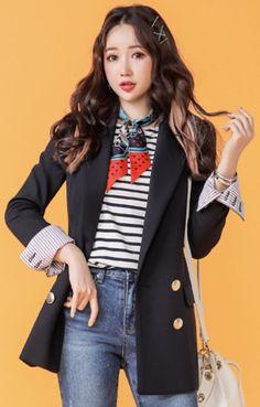 StyleOnme_Pinstripe Fold-Up Sleeve Double-Breasted Tailored Jacket #navy #jacket #koreanfashion #kstyle #kfashion #dailylook #springtrend #seoul