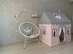 Playhouse Tent, Indoor Cottage, Play House Tipi, Montessori Bed, Pink Gray Girl Rooms, Cotton Canvas Grey Girls Rooms, Girl Rooms, Bed Education, Canvas Teepee, Montessori Bed, Big Doors, Pvc Pipe Projects, Bed Covers, Kids House