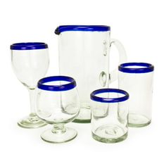 Blue Rim Recycled Glassware Collection  reg. $7.00 - $28.00