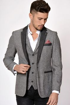 c758fdad8568 Grey Tweed Blazer Marc Darcy Formal Wear, Men Formal, Blazers For Men, Grey