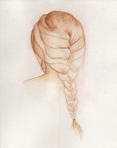 Braided Hair Watercolor Painting