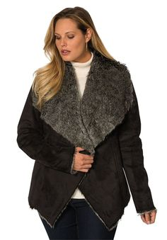 Jessica London Women's Plus Size Faux Suede Jacket With Faux Fur Trim ** Startling review available here  : Plus size coats