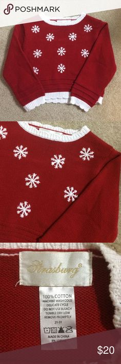 Strasbourg Children Red Snowflake Sweater Beautiful children's sweater from Strasbourg Children. 100% cotton. No rips, tears or stains. Snowflake design on the front. Comes from a smoke-free home. Strasbourg Children Shirts & Tops Sweaters