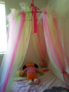 Princess Dazzle: How to make a tulle bed canopy!