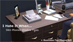 nanashi-fax_phone_01 The Sims 2, Sims 4 Mods, Tv, Office Desk, Corner Desk, Study, Phone, Business, Furniture