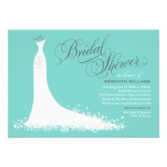 bridal shower invitation elegant wedding gown aqua pool blue white