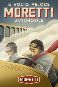 Vintage style race car poster by Michael Crampton.