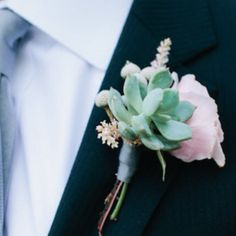 The groomsmen will have boutonnieres of  pale pinky-peach spray roses, pink astilbe and pale green succulents wrapped in charcoal grey ribbon with the stems showing.