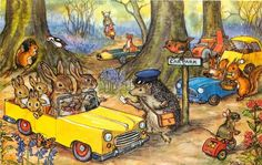 """Fantasy~""""Woodland Car Park~Badger Cop Writes Ticket~Mouse Tricycle~Molly Brett"""