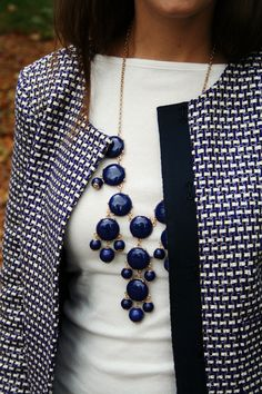 I bought this on super clearance from JCrew and now know how to wear it! Looks like I *need a navy bubble necklace! :-)