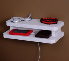 DIY: Make a handy little bedside shelf to hold eyeglasses or jewelry, or as a convenient charging station.