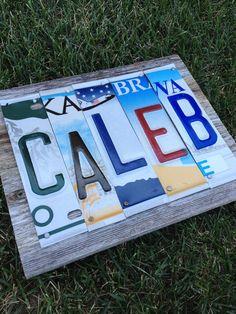 Custom license plate name sign - reclaimed wood