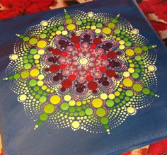 Original Dotart Sugar Mandala Painting on Canvas, Painting, Office and home ornament decoration Gift Dotilism Dotart Henna Art