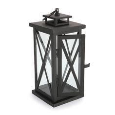 Metal Lantern - Black Powder Coating - 4.72 x 4.72 x 11.81 Inches