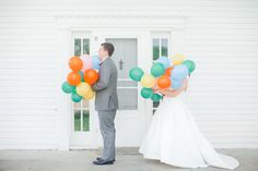 Balloon-filled first look | Photography: Jordan Brittley - jordanbrittley.com  View entire slideshow: Sweetest First Looks on SMP on http://www.stylemepretty.com/collection/286/