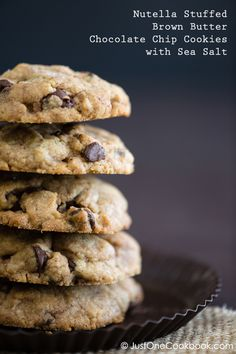 Nutella Stuffed Brown Butter Chocolate Chip Cookies with Sea Salt | JustOneCookbook.com