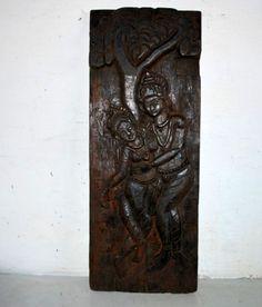 1860's Antique Old Rare Wooden Hand Carved Hindu God Radha Krishna Figure Panel