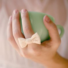 lace bow adjustable ring by whichgoose on Etsy