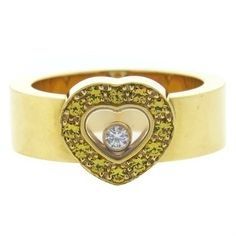 Chopard Happy Diamonds Sapphire Gold Heart Ring
