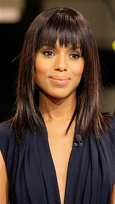 Kerry Washington rocked sexy blunt bangs on The Tonight Show with Jay Leno. The bold bangs and long layers give the actress a fresh, youthful look.