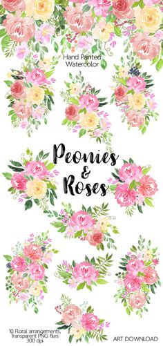 Floribunda watercolor floral clip art flower illustrations