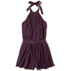 Hollister Wrap High-Neck Romper ($40) ❤ liked on Polyvore featuring jumpsuits, rompers, rompers/jumpsuits, purple, high neck romper, halter tops, purple romper, playsuit jumpsuit and purple halter top