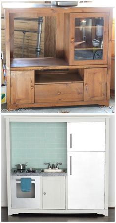 Entertainment center repurposed as a play kitchen. Unbelievable before and after!