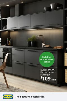 From bottles to beautiful. Our gorgeous and durable KUNGSBACKA cabinet fronts are crafted with recycled wood, then covered in a plastic foil made from recycled water bottles to keep needless waste out of landfills.