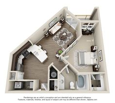 The floor plan for this great 1 bedroom 1 bath 710sf apartment. The Jackson at Elizabeth Square.